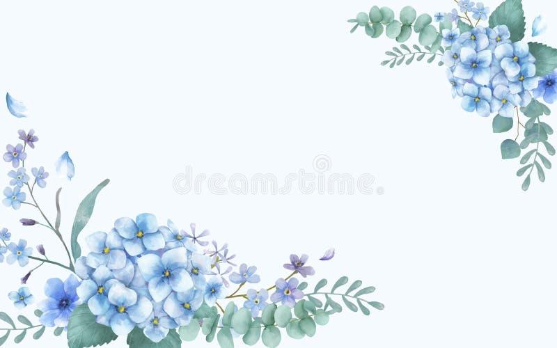 Blaue themenorientierte Grußkarte mit Blumen lizenzfreie abbildung
