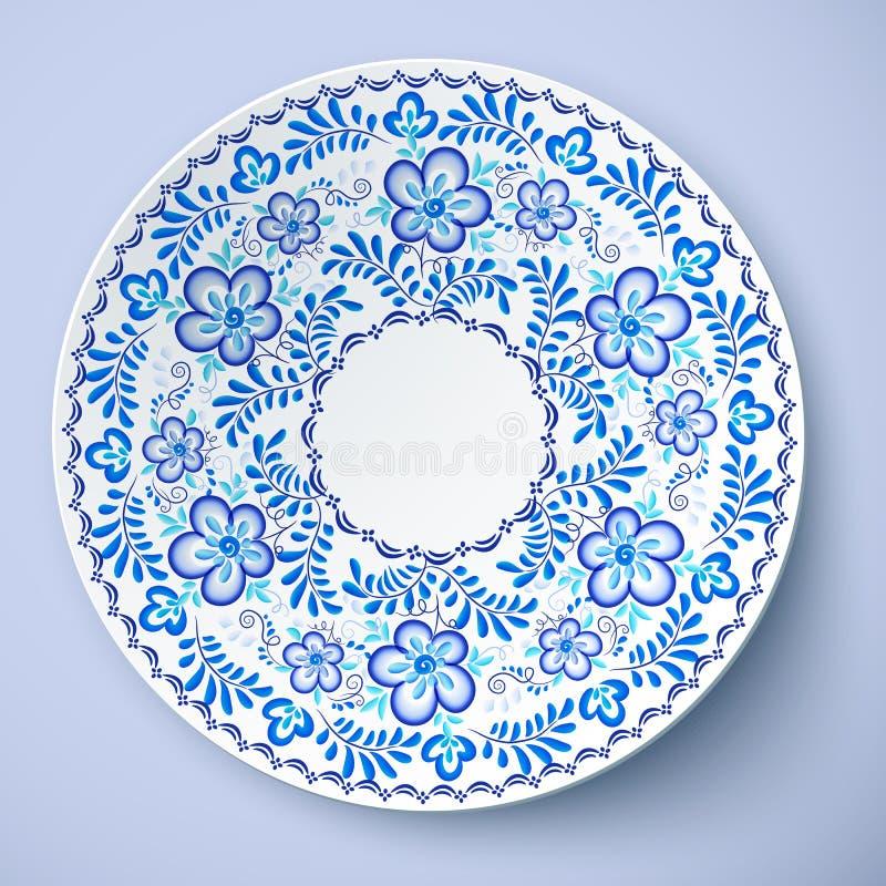 Blaue traditionelle russische Blumenverzierung in gzhel Art, Vektorplatte vektor abbildung