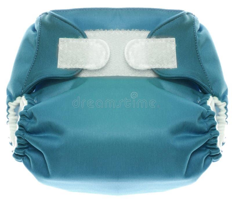 Blaue Tuch-Windel mit Haken und Schleifenschluss stockbilder