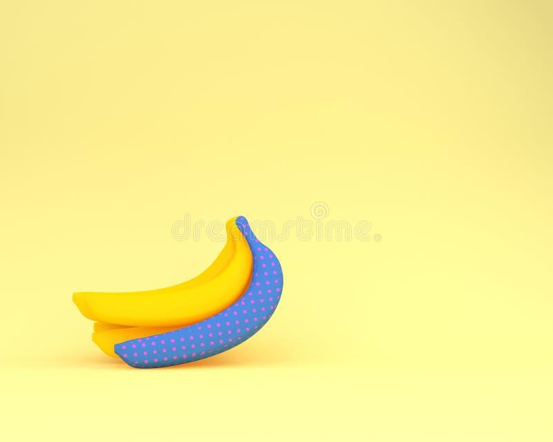 Blaue Tupfen der süßen Banane auf gelbem Pastellhintergrund Minimum lizenzfreie abbildung