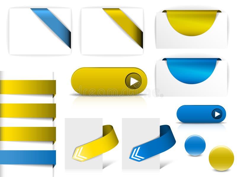 Blaue und gelbe Elemente für Webseiten lizenzfreie abbildung