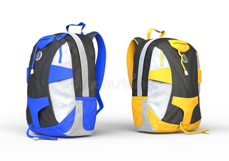 Blaue und gelbe Rucksäcke auf weißem Hintergrund stockfoto