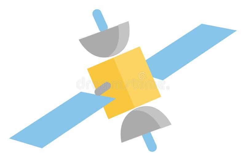Blaue und gelbe Satellitenfunkanlagen (Vektor oder Farbabbildungen) lizenzfreie abbildung