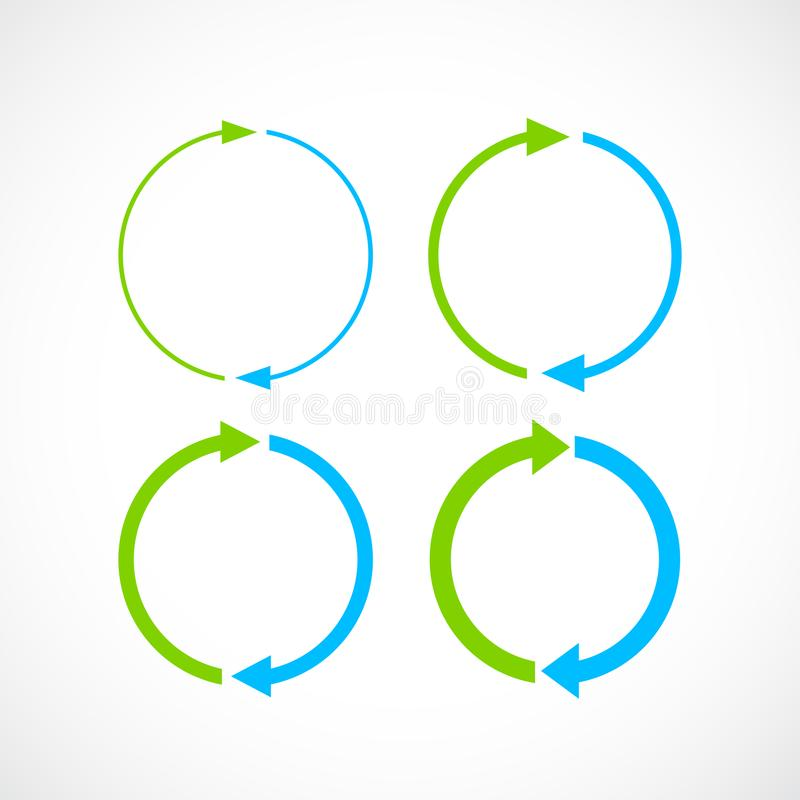 Blaue und grüne Zykluspfeilikone lizenzfreie abbildung