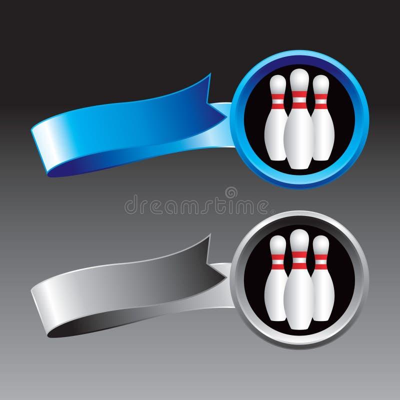 Blaue und graue Farbbänder mit Bowlingspielstiften lizenzfreie abbildung