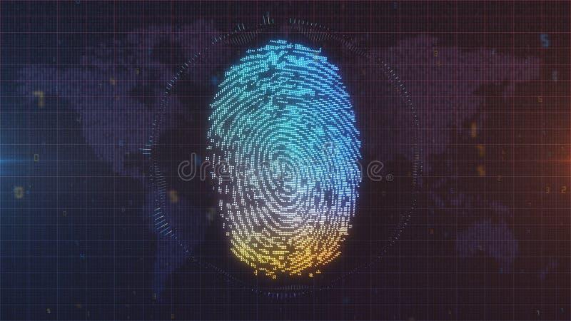 Blaue und orange Fingerabdruck Identifikation auf Weltkartehintergrund stock abbildung