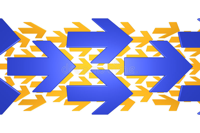 Blaue und orange Pfeile lizenzfreie abbildung