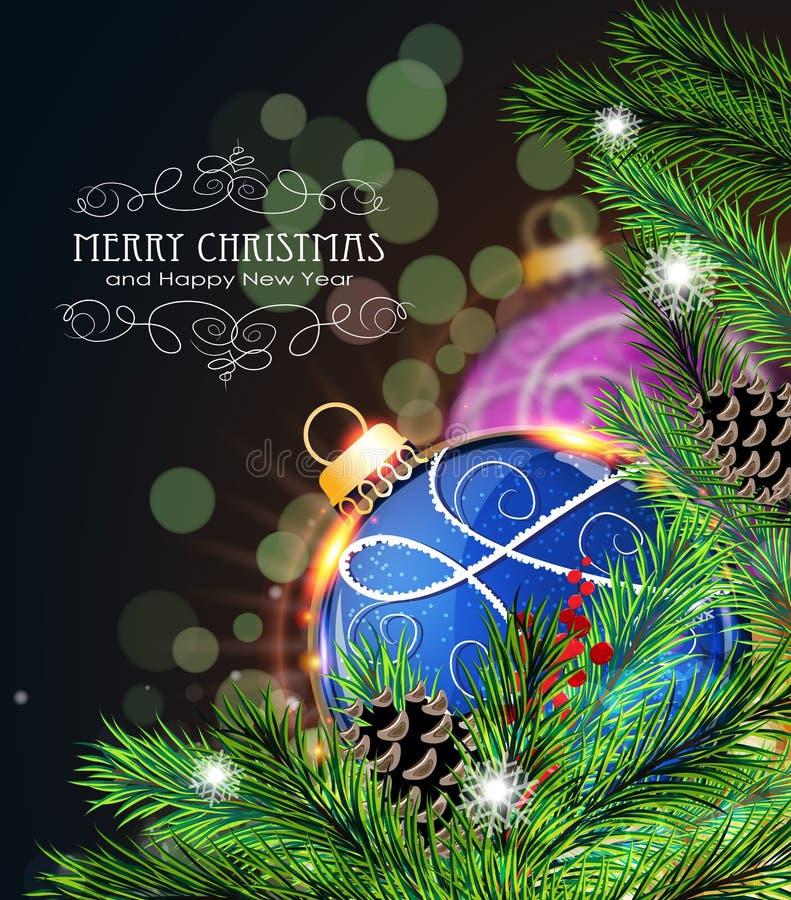 Blaue und purpurrote Weihnachtsdekorationen lizenzfreie abbildung
