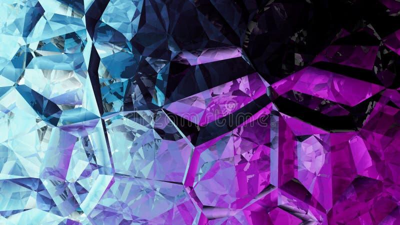 Blaue und purpurrote Zusammenfassung Crystal Background Image stock abbildung