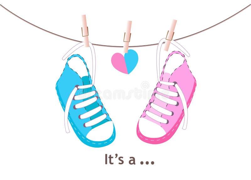 Blaue und rosa Babyschuhe Babypartygrußkarte vektor abbildung