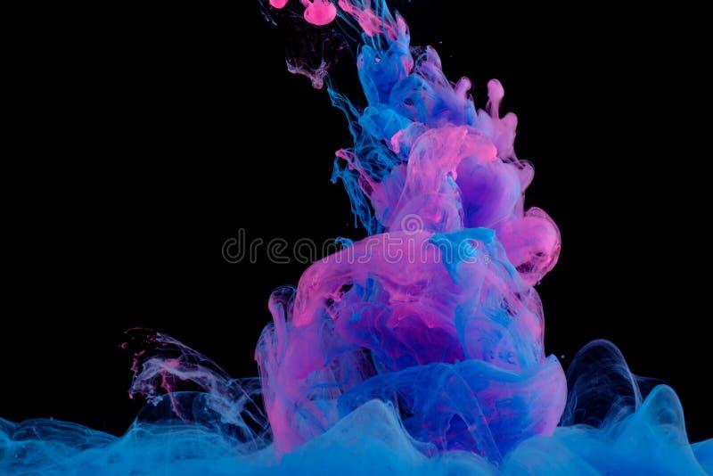 Blaue und rosa Wolken der Tinte in der Flüssigkeit auf Schwarzem stockfoto