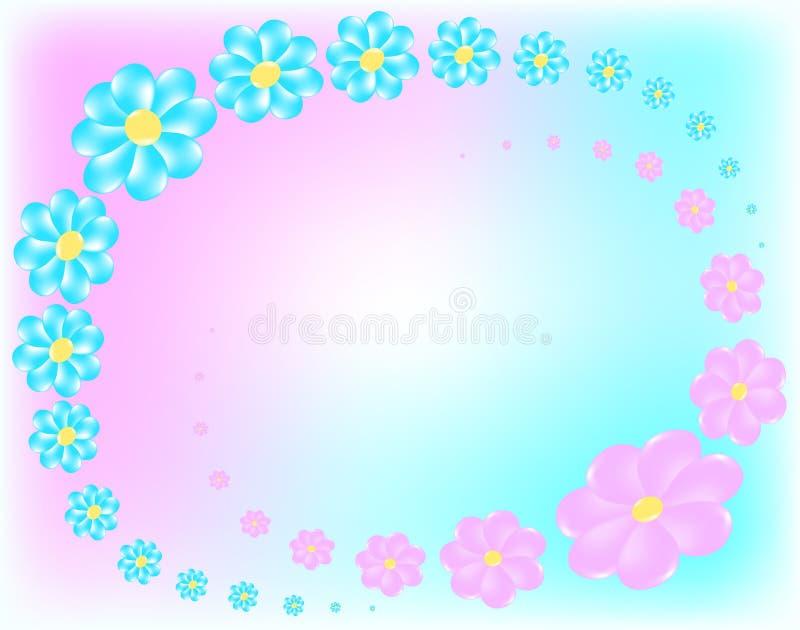 Blaue und rosafarbene Blumen stockfotos
