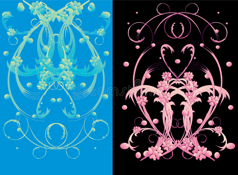 Blaue und rosafarbene Blumenverzierung stock abbildung