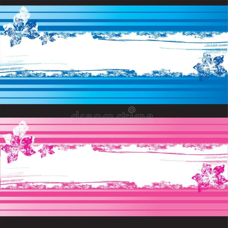 Blaue und rosafarbene grunge Fahnen mit Blumenelementen vektor abbildung