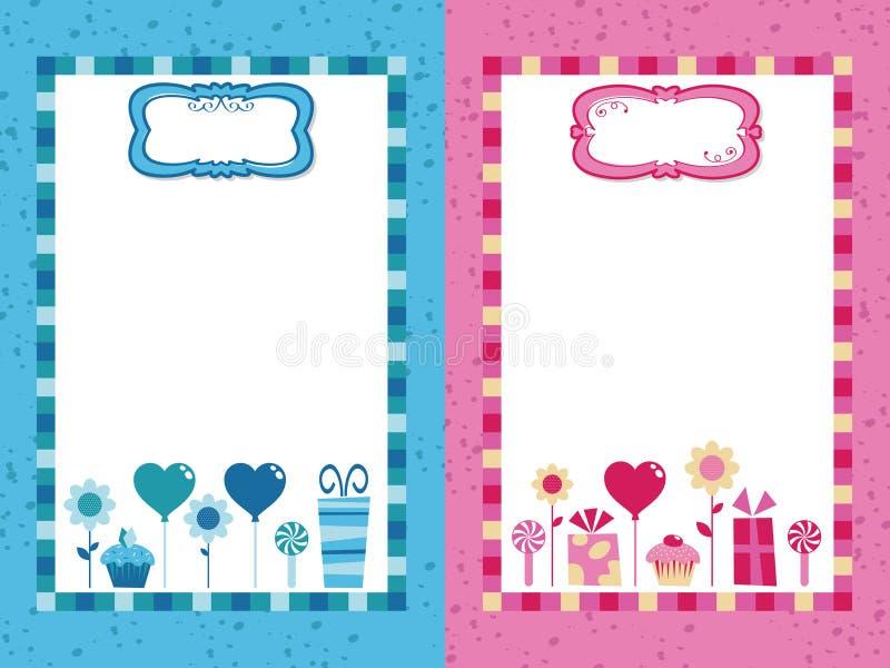 Blaue und rosafarbene Partyfelder lizenzfreie abbildung