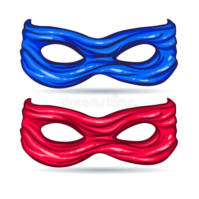 Blaue und rote Maske für Gesichtscharakter-Superhelden im Stil der Comics stock abbildung