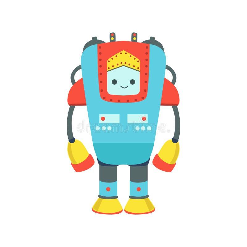Blaue und rote riesige freundliche Android-Roboter-Charakter-Vektor-Karikatur-Illustration stock abbildung