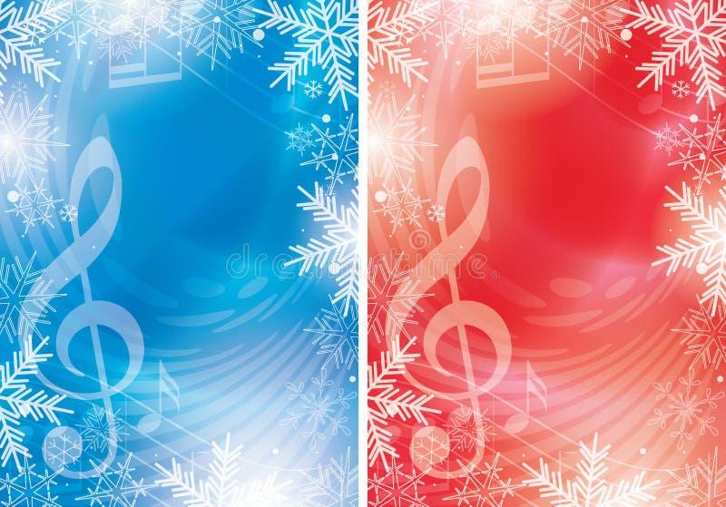 Blaue und rote Vektorflieger mit Musikanmerkungen und Schneeflocken - Weihnachten vektor abbildung