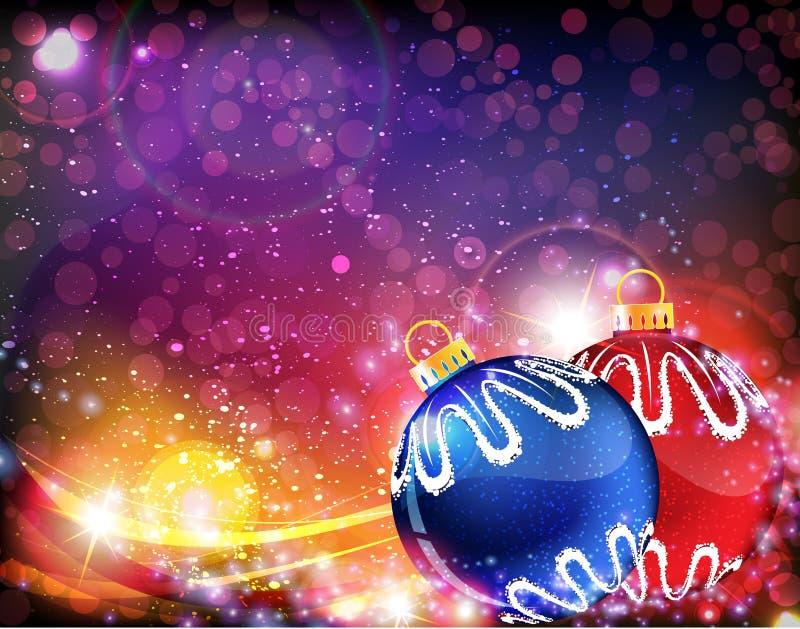 Blaue und rote Weihnachtskugeln   lizenzfreie abbildung