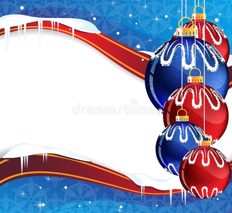 Blaue und rote Weihnachtskugeln stock abbildung