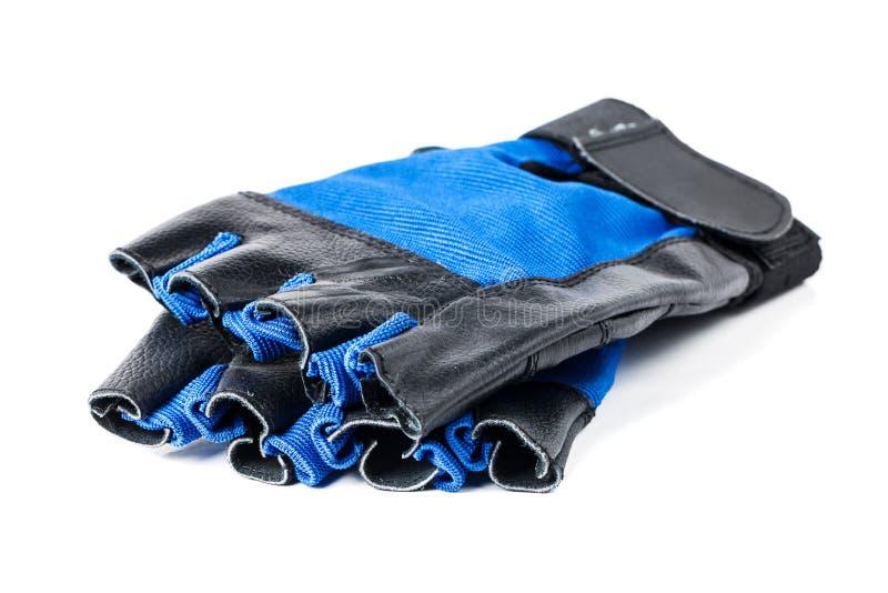 Blaue und schwarze lederne Turnhallenhandschuhe lizenzfreie stockfotografie