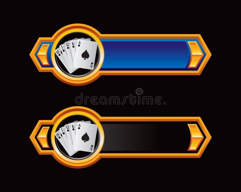 Blaue und schwarze Pfeile mit Spielkarten vektor abbildung