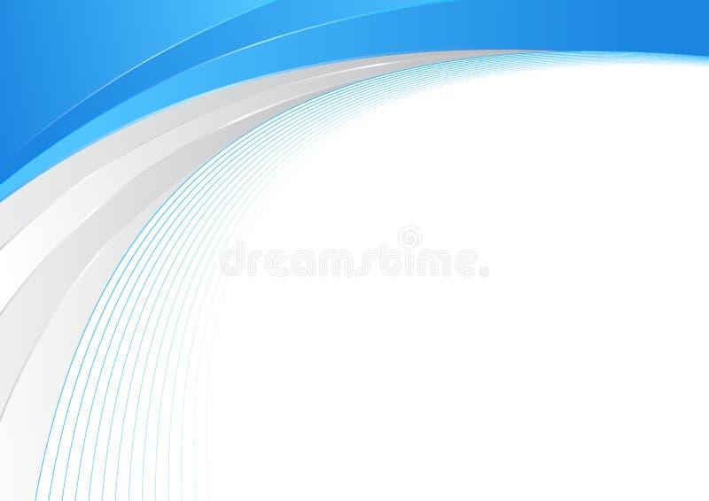Blaue und silberne abstrakte WellenGrenze Zertifikatschablone stock abbildung