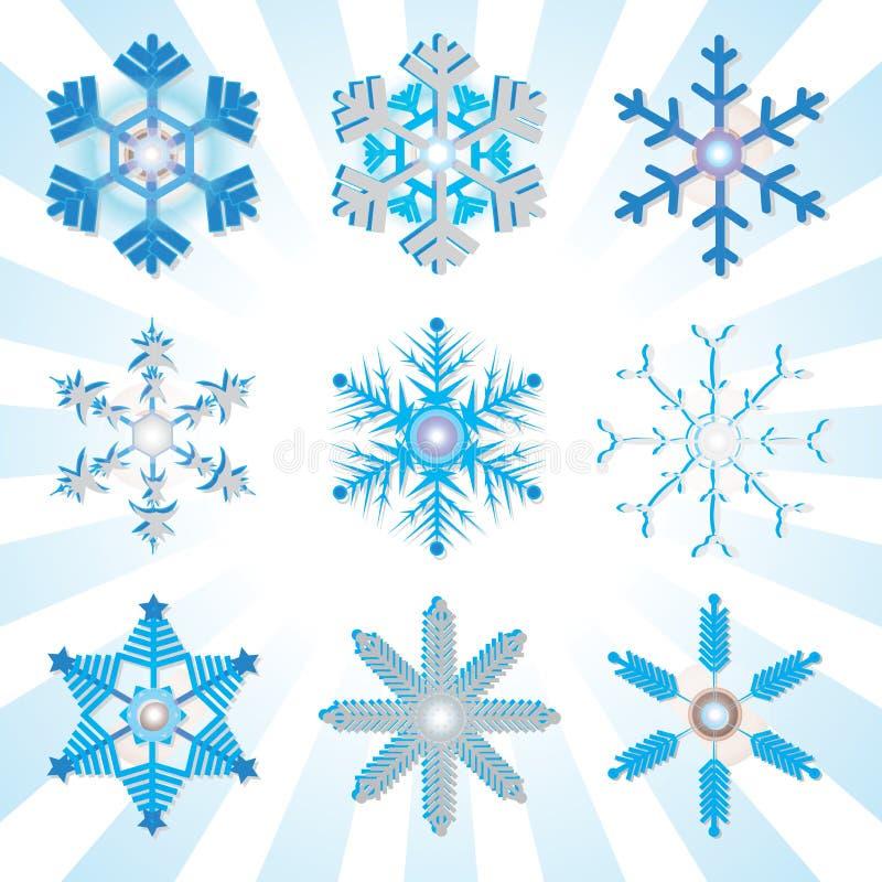 Blaue und silberne ausführliche Schneeflockenveränderungen stock abbildung