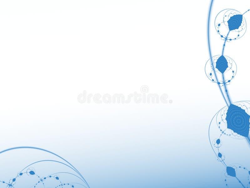 Blaue und weiße abstrakte Fractalkunst mit Kurven und dekorativen Elementen auf der Grenze Kreative grafische Hintergrundschablon vektor abbildung