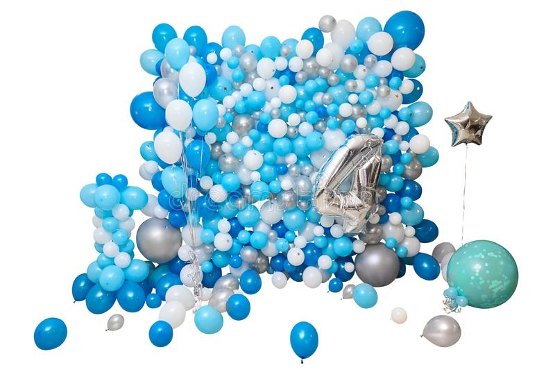 Blaue und weiße Ballone lokalisiert auf weißem Hintergrund stockbilder