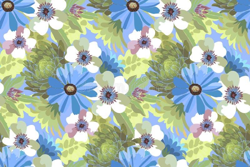 Blaue und weiße Blumen mit grünen Blättern vektor abbildung
