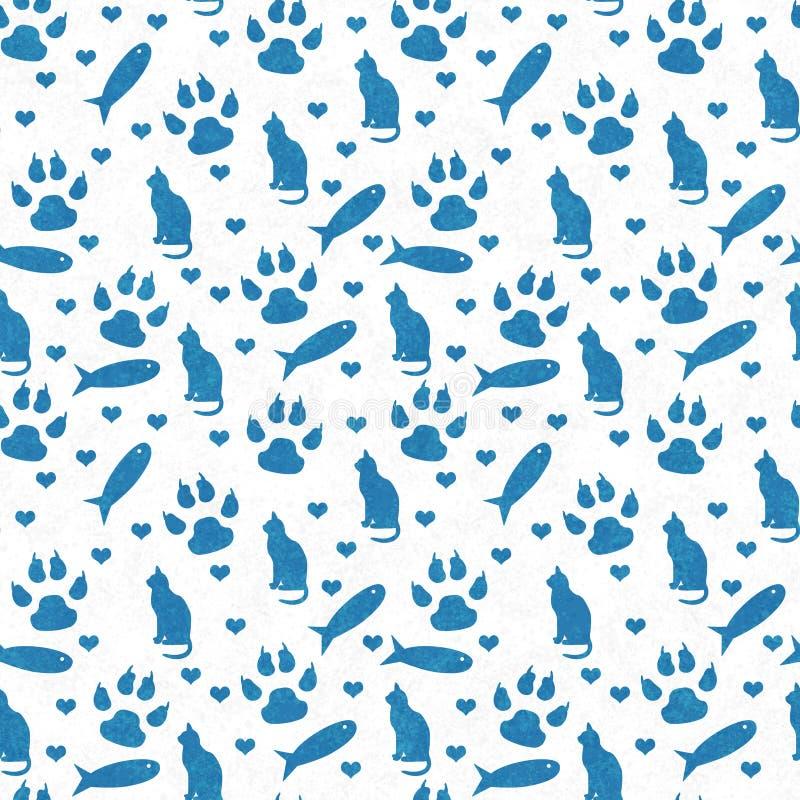 Blaue und weiße Katze, Pfotenabdrücke, Fische und Herzen nahtlos und r stockfotos