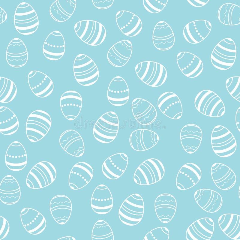 Blaue und weiße Osterei-Musterillustration stock abbildung