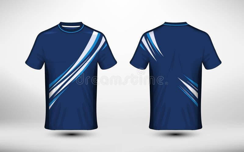 Blaue und weiße Planesportt-shirt Designschablone vektor abbildung