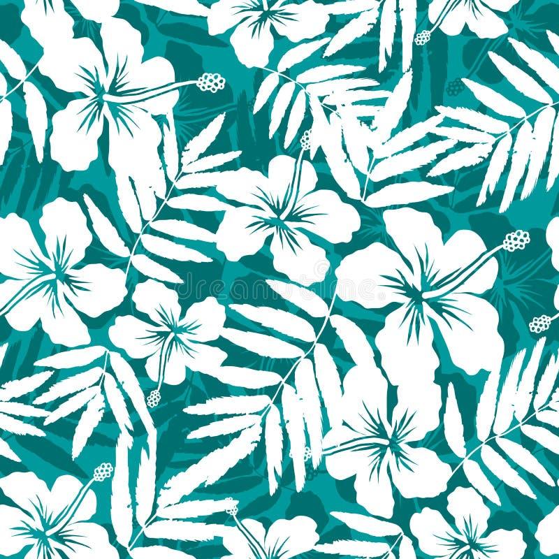 Blaue und weiße tropische Blumenschattenbilder lizenzfreie abbildung