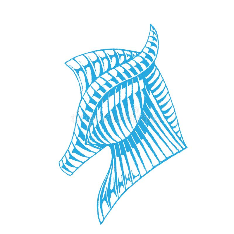 Blaue Vectorized Tinten-Skizze eines Pferds stock abbildung