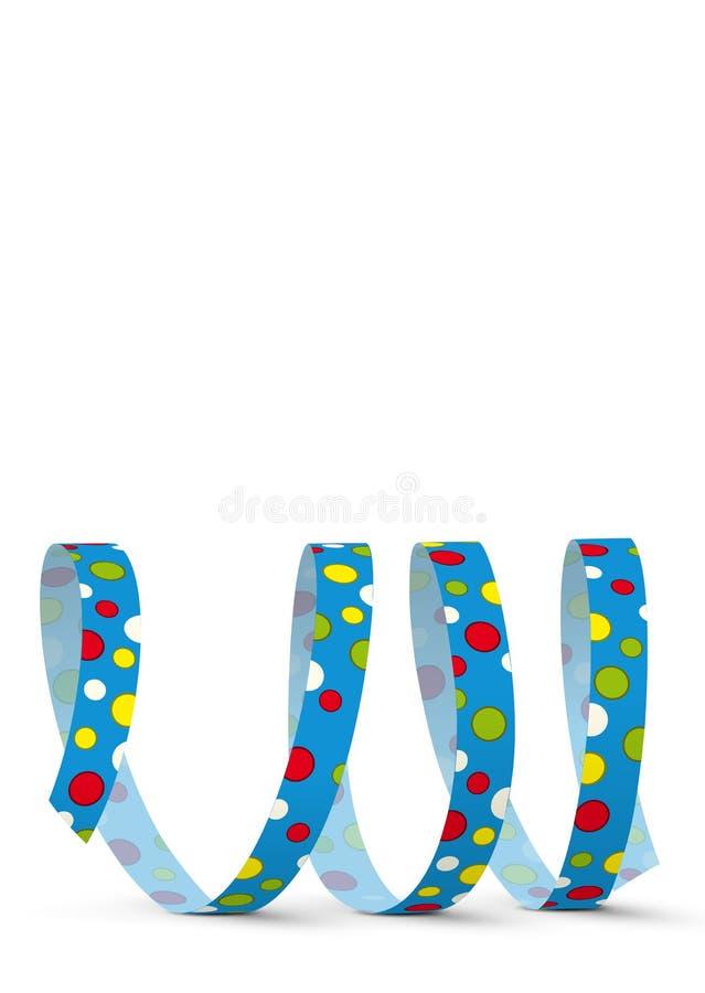 Blaue Vektor-Papierschlange mit farbigen Punkten - Gruß-Karten-Schablone - brennen Sie heraus durch stock abbildung