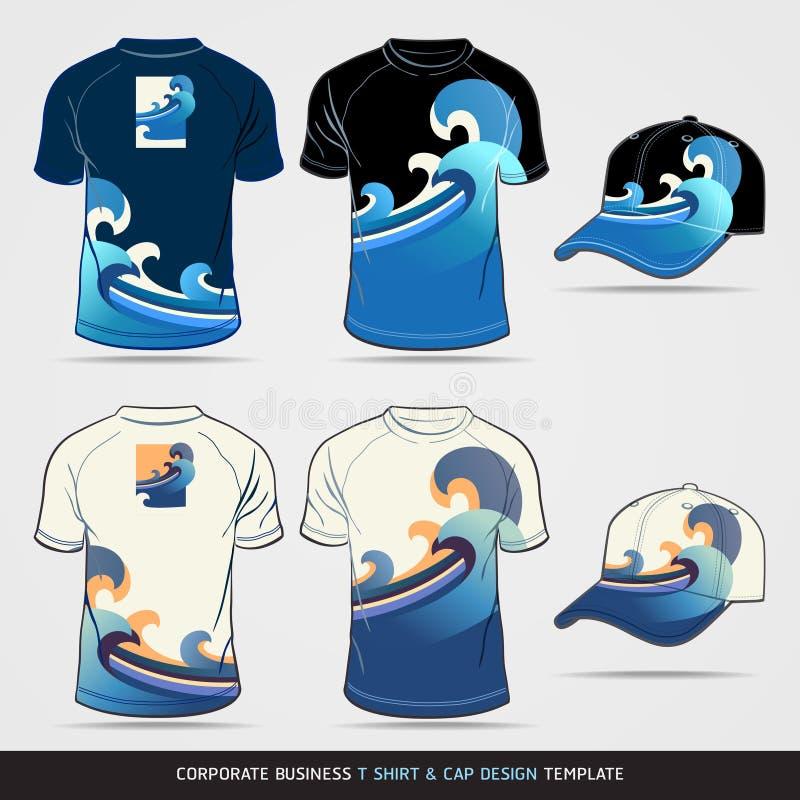 blaue Vektorillustration T-Shirt und Kappe Design-Schablone lizenzfreie abbildung