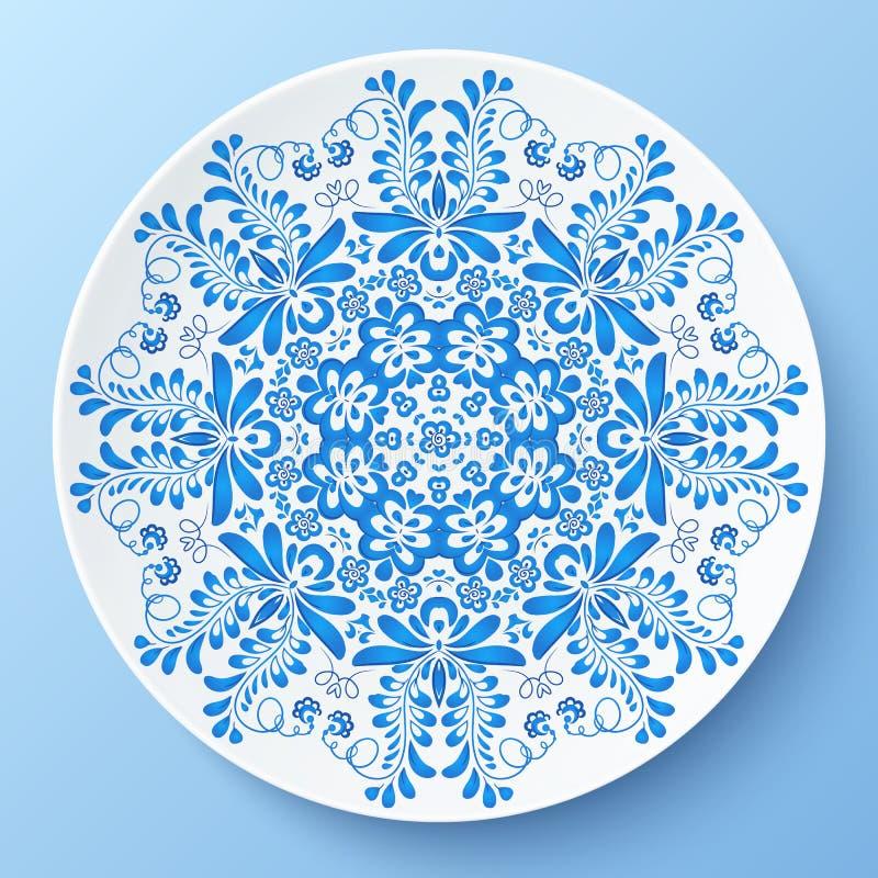 Blaue Vektorplatte mit Blumenverzierung vektor abbildung