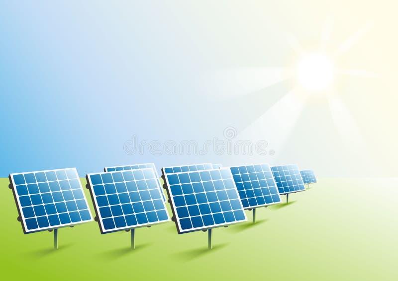 blaue Version Sonnenkollektoren auf dem Gebiet lizenzfreie abbildung