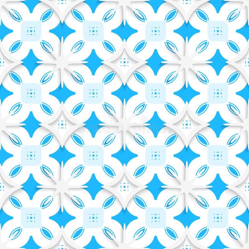 Blaue Verzierung und weiße Schneeflocken nahtlos lizenzfreie abbildung