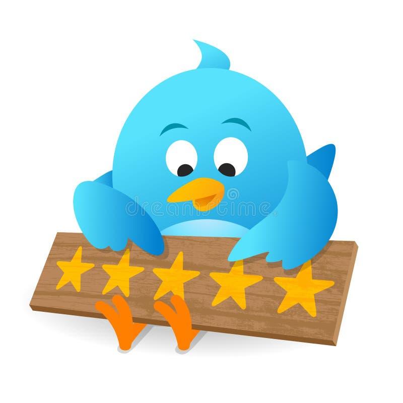 Blaue Vogel-Kunden-Bericht-Produktbewertungs-Mitteilungs-Anschlagtafel vektor abbildung