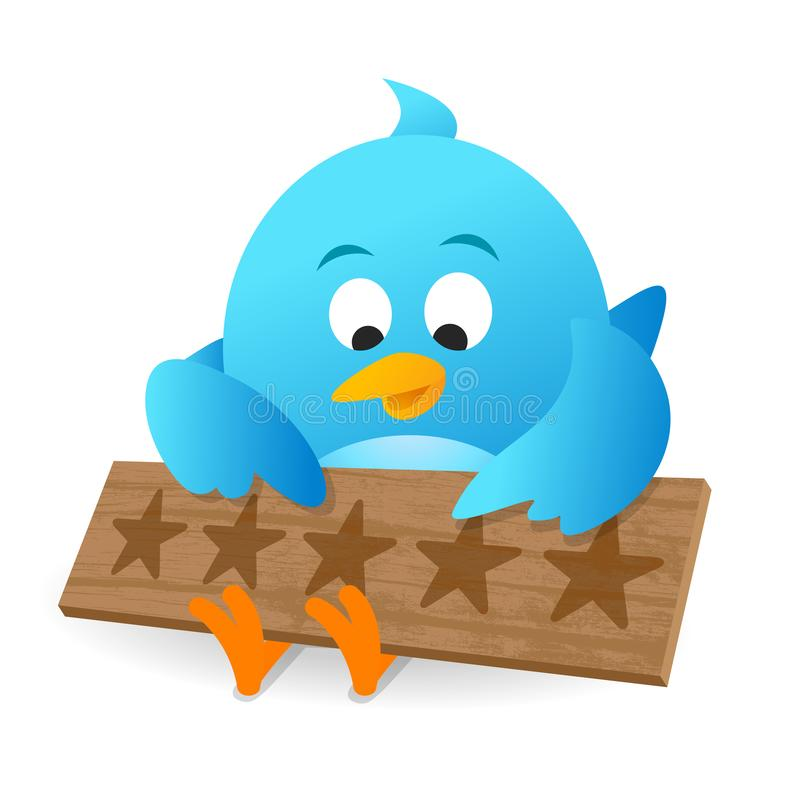 Blaue Vogel-Kunden-Bericht-Produktbewertungs-Mitteilungs-Anschlagtafel lizenzfreie abbildung