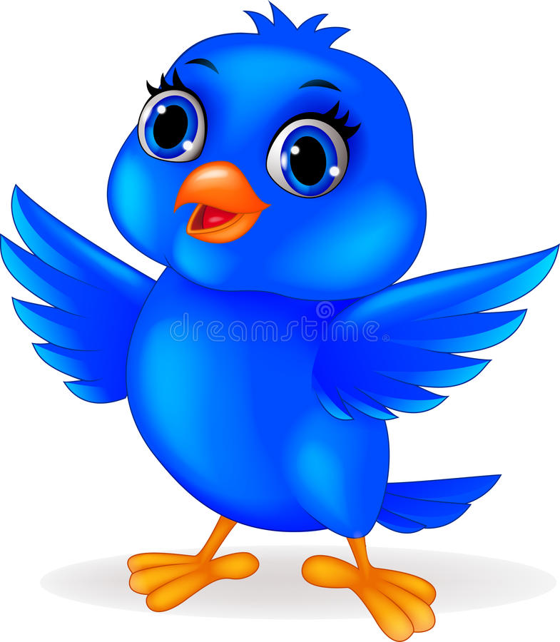 Blaue Vogelkarikatur lizenzfreie abbildung