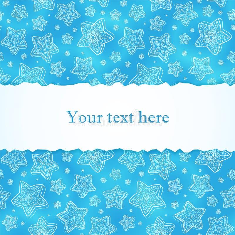 Blaue von Hand gezeichnet Schneeflockegrußkarte vektor abbildung