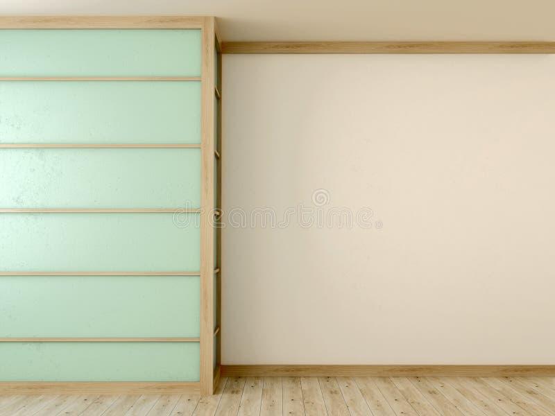 Front der blauen Wand im Innenraum stockfotografie