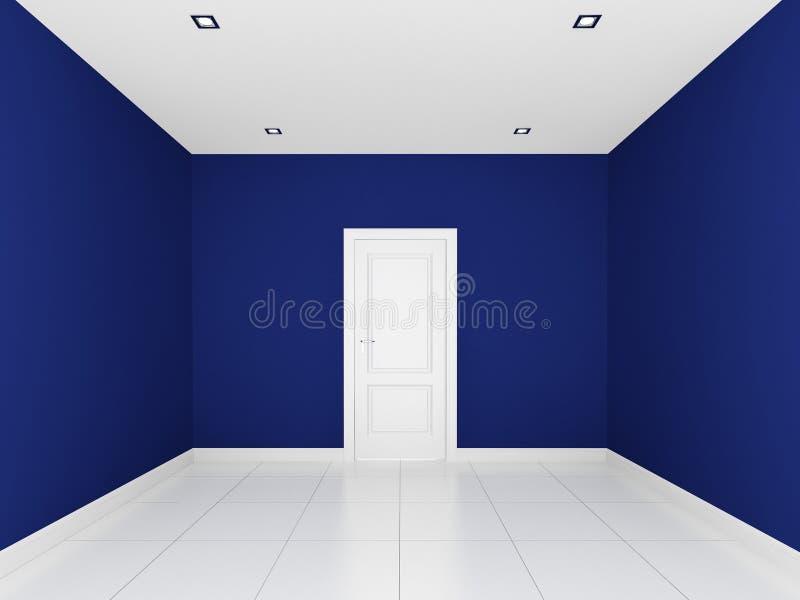 Blaue Wand In Einem Leeren Raum Stock Abbildung - Bild: 37605324