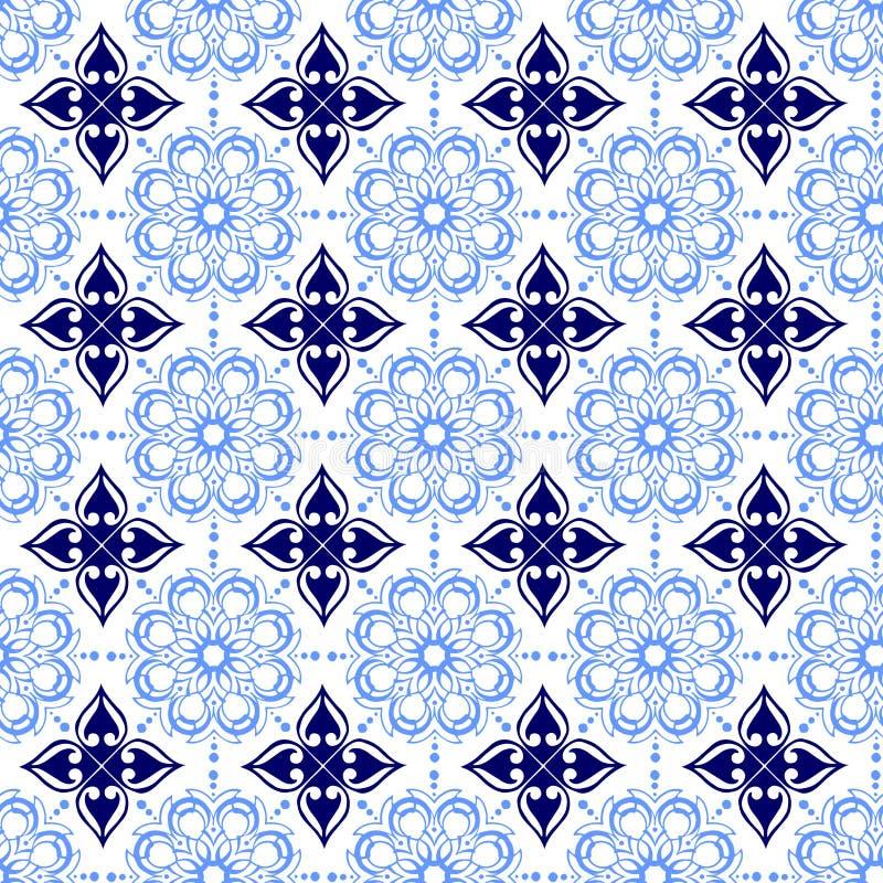 Blaue weiche und dunkle schöne dekorative orientalische königliche Blumenweinlese-Frühlings-Zusammenfassungs-nahtlose Muster-Besc vektor abbildung