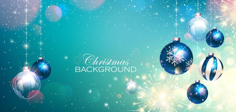 Blaue Weihnachtsbälle auf buntem Winter-Hintergrund und Bengal-Lichtern Vektor lizenzfreie abbildung