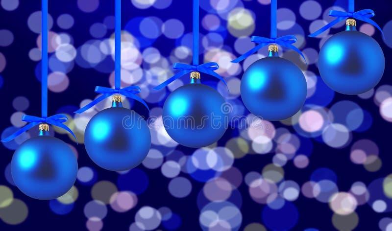 Blaue Weihnachtsbälle mit Bögen auf hellem Feiertagshintergrund lizenzfreie stockbilder